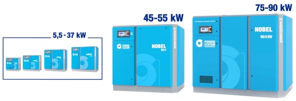 The new NOBEL range, up to 90 kW: direct-driven rotary screw compressors